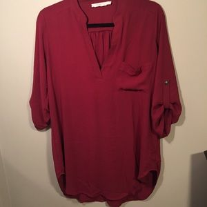 Red Maroon 3/4 sleeve Lush Top - Size Small